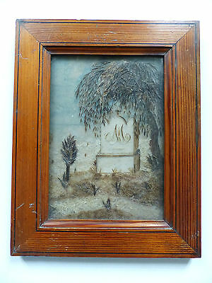 """SUPERB LARGE ANTIQUE FRENCH SENTIMENTAL MOURNING HAIR ART 1880's . 10"""" x 7 9/10"""""""