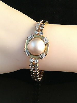 Beautiful 14ct, 14k 585 Gold, Mabe Pearl 14.5mm & Diamond (1.00ct) bracelet