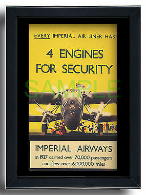 Imperial Airways HP42 4 engines framed repro poster Danvers 1938 Handley Page 42