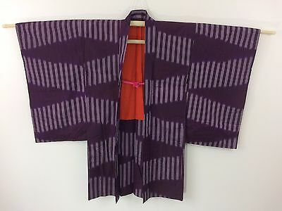 Authentic Japanese purple silk haori jacket for kimono, with himo, used (G1110)