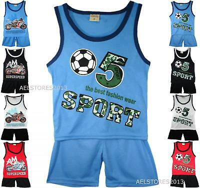 Sports Summer Shorts Boys New Girls Top Vest Kit Set Size Age 3-10 Years Bnwt