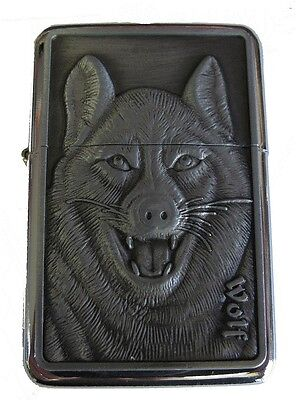 Wolf Design Face Star Petrol Lighter In Gift Tin