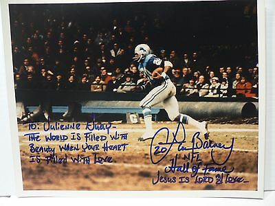 Lem Barney Football Player HOF Authentic Signed Autograph 8 x 10  Photo