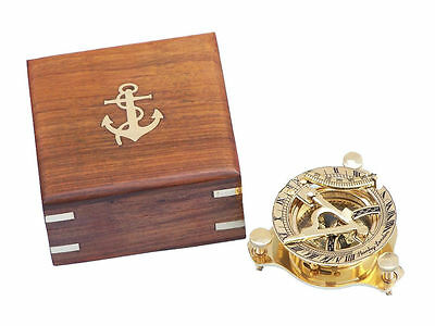 "Brass Sundial compass 3"" Nautical Gift with Beautiful wooden Box USA Seller!!!"