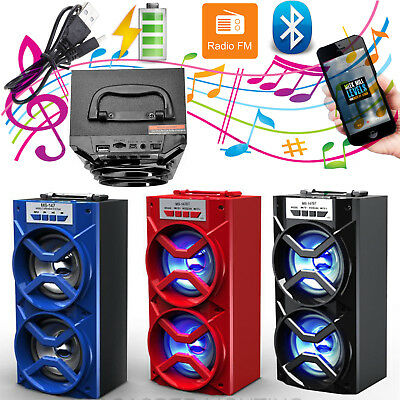 Wireless Bluetooth Portable Dual Speaker Outdoor Stereo USB/TF/AUX/FM Radio LOT