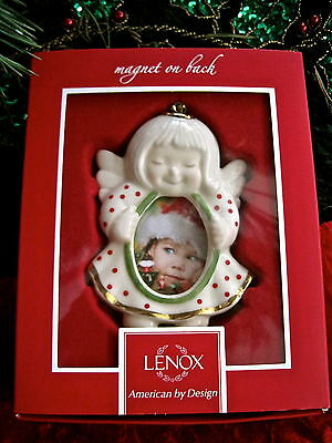 Lenox Porcelain Angel Picture Frame Ornament With Refrigerator Magnet NIB $40