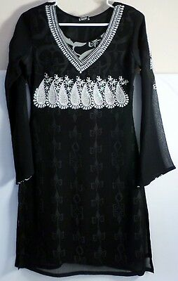 Very good Pakistani Indian black dress with embellishments Size very small