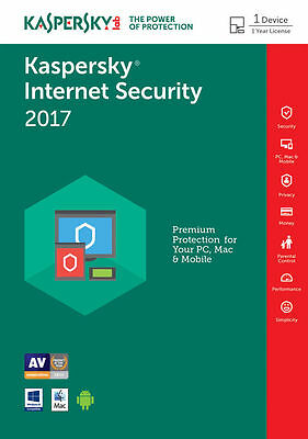 Kaspersky Internet Security 2017 1PC / 1Year / Antivirus / Download