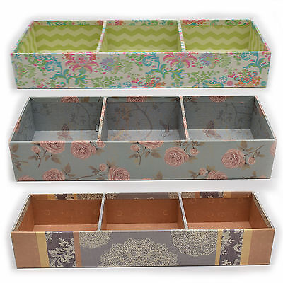 Party Wedding 3 compartment Candy Gift Box With Flower Designs,  Assorted Colors
