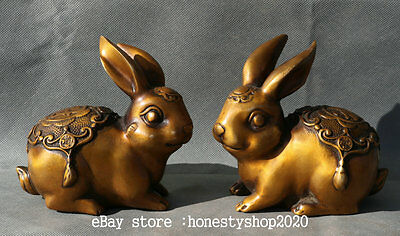 "5"" China Folk Brass Fengshui Handwork Carved Rabbit Fu Wealth Statue Pair"