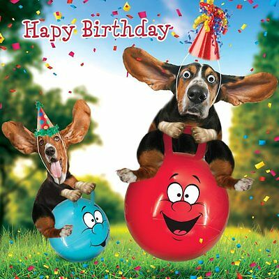 Birthday Card Funny Cute Basset Hound Dogs Hoppers Goggly 3D Moving Eyes