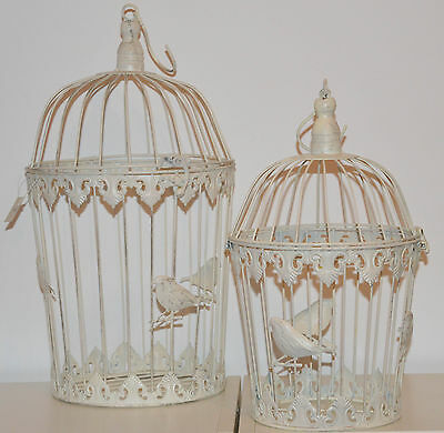Set of 2 Shabby Chic White Round Bird Cages Wedding Favours Table Centerpiece