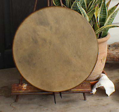 "12"" Buffalo Hide Hand Drum Native Made William Lattie Cherokee Cert of Auth"