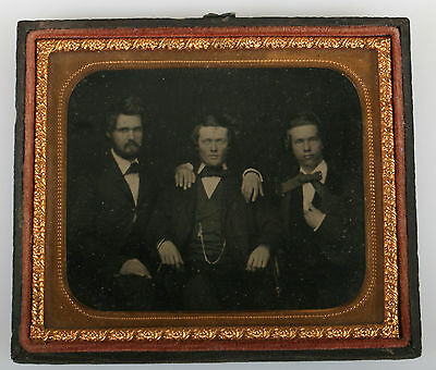 Handsome Men In Affectionate Pose Unique. Ambrotype 6Th Plate.