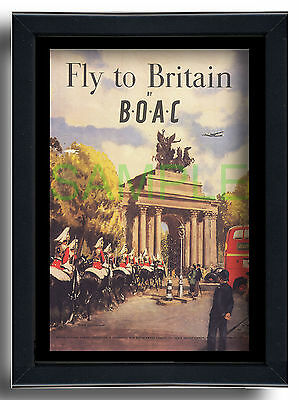 BOAC Fly to Britain Hyde Park Corner framed repro poster Clive Uptton 1948