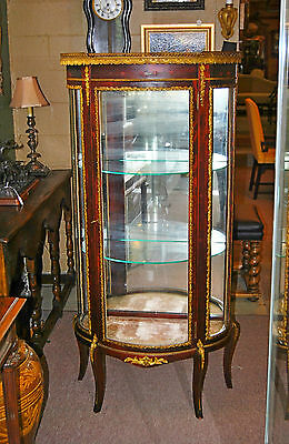 Antique French Style Mahogany Curved Curio Cabinet with Brass Gallery Circa 1920