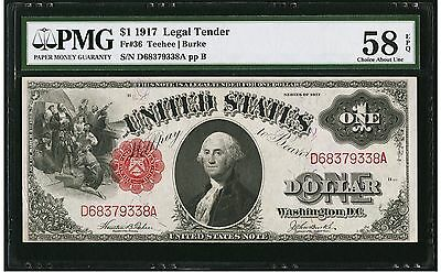 $1 1917 Legal Tender PMG 58 EPQ Choice About Uncirculated