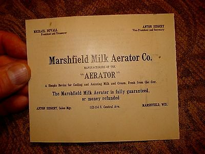 antique Marshfield Wisconsin Dairy Milk Aerator Co. advertising Card