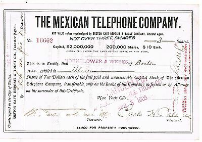 THE MEXICAN TELEPHONE COMPANY  - Countersigned at Boston, 1905 - 3 Shares