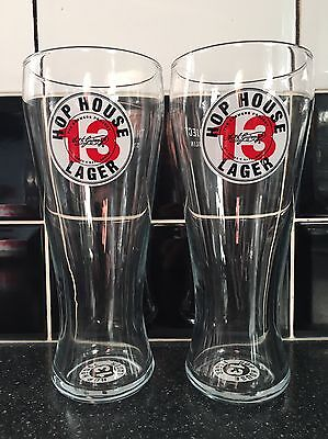 Guinness Hop House 13 Lager Pint Glasses (X2) - New / Ce  Stamped