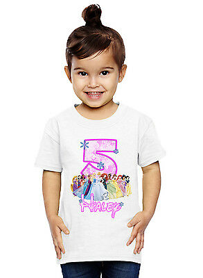 Princess Birthday Shirt Custom Name and Age Personalized Disney Princess Shirt