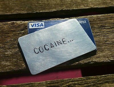 METAL CREDIT CARD INSERT Ketamine Charlie Spoon Gift Bag Cocaine Drugs Festival