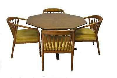Mid Century Octogon Oak Game Table And 4 Club Chairs By Drexel