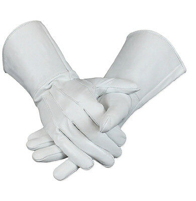 Leather Drum Major's Gauntlet White  Gloves