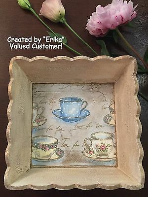 """NEW SMALL SIZE SCALLOPED WOODEN TRAY WOOD BASKET 7 x 7 x 3"""" UNFINISHED (SM)"""