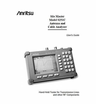 Anritsu Site Master S251C Cable Analyzer PDF User Instruction manual on cd