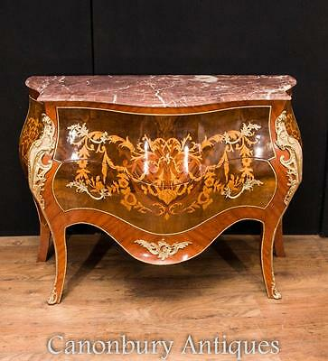 French Empire Bombe Chest Drawers Commode Marquetry Inlay