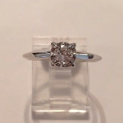 Antique Vintage 14K White Gold Round Diamond Solitaire Engagement Ring