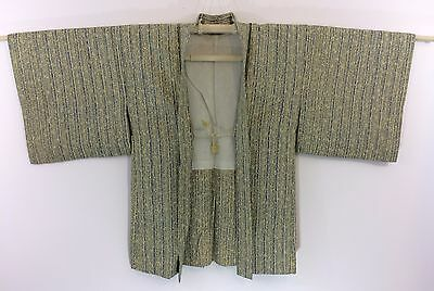 Authentic Japanese silk haori jacket for kimono, with himo, used (H1117)