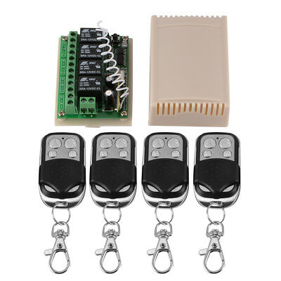12V DC 4 CH 433Mhz Electric Doors Remote Switch 4 Transmitter + Receiver HS826