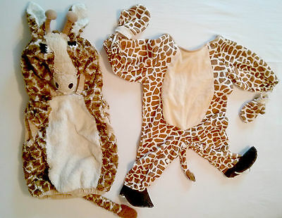 LOT Giraffe Fleece Animal fur Tail Hood Halloween costume Infants size 12-24 2T