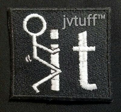 "Funny F*CK IT Embroidered Patch Biker Motorcycle Vest ""F IT"" Iron On or Sew On"