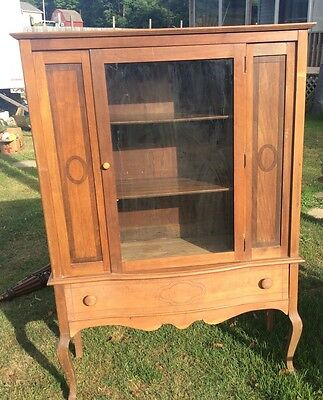 Vintage Antique China Cabinet C.M.Bott Furniture Co. Dove Tail Drawer