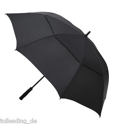 Extra Large Double Canopy Fiberglass Windproof Auto Open Umbrella W/ Big Vents