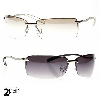 3f591228653 2 PC MENS RECTANGULAR RIMLESS DESIGNER SUNGLASSES SHADES EYEWEAR Silver  Clear b