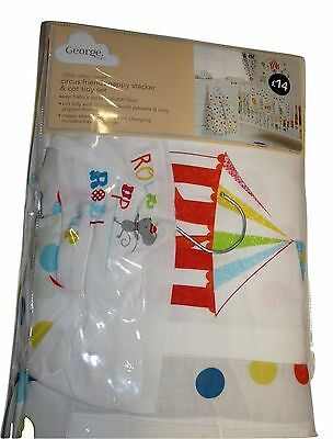 Nappy Stacker and cot tidy set baby room george circus friends design brand new