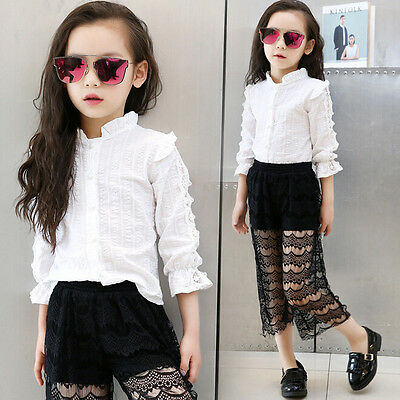 Kids Girls Lace Shirt Blouse Toddler White Shirt Outdoor School Travel Tops