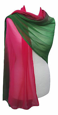 Long Unique Indian Boho Bright Pink & Green Ombre Dip Dyed Chiffon  Scarf Wrap