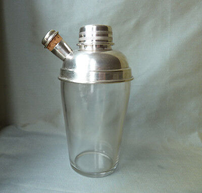 vintage glass cocktail shaker with silver plated top and corked spout, Art Deco