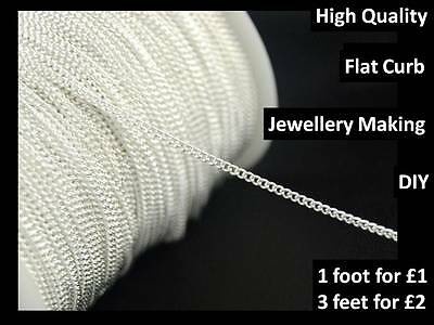 1 foot (12 inches) Silver Plated 2 mm Flat Curb Chain for Jewllery Necklace DIY