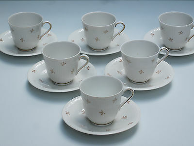 SET: 6 (!) RÖRSTRAND Espressotassen ART DECO Nationalservisen / Swedish Grace