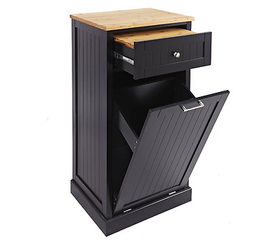 Microwave Kitchen Cart with Hideaway Trash Can Wastebasket Holder Cutting Board