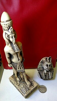 2 Egyptian Statues King Tutankhamen Natural carved Stone, See Discretion