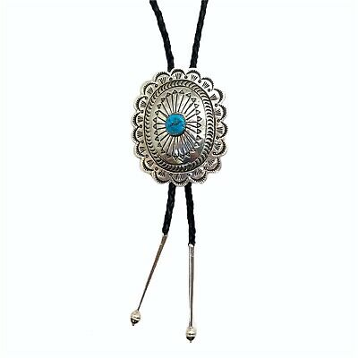 Navajo Sterling Silver Turquoise Old Style Stamp Bolo Tie - Carson Blackgoat