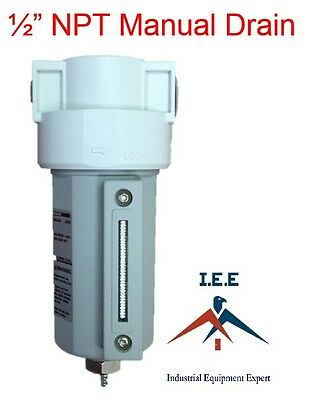 """1/2"""" Compressed Air In Line Moisture/Water Filter Trap Manual Drain New"""