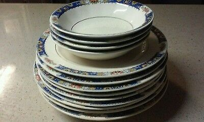 Vintage 13 piece Edwin M. Knowles Collection, Blue Design